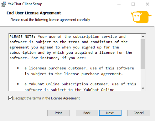 Screenshot of YakChat for Skype for Business Installer