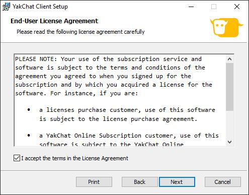 Screenshot of YakChat for Skype for Business Installer