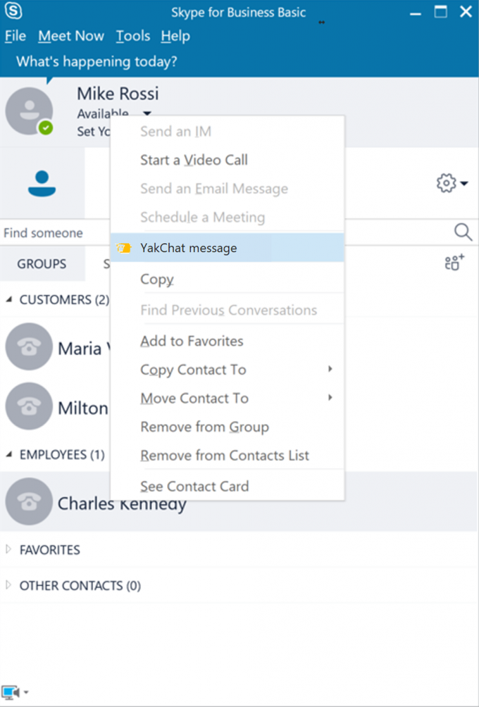 Screenshot of YakChat Menu added to Skype for Business