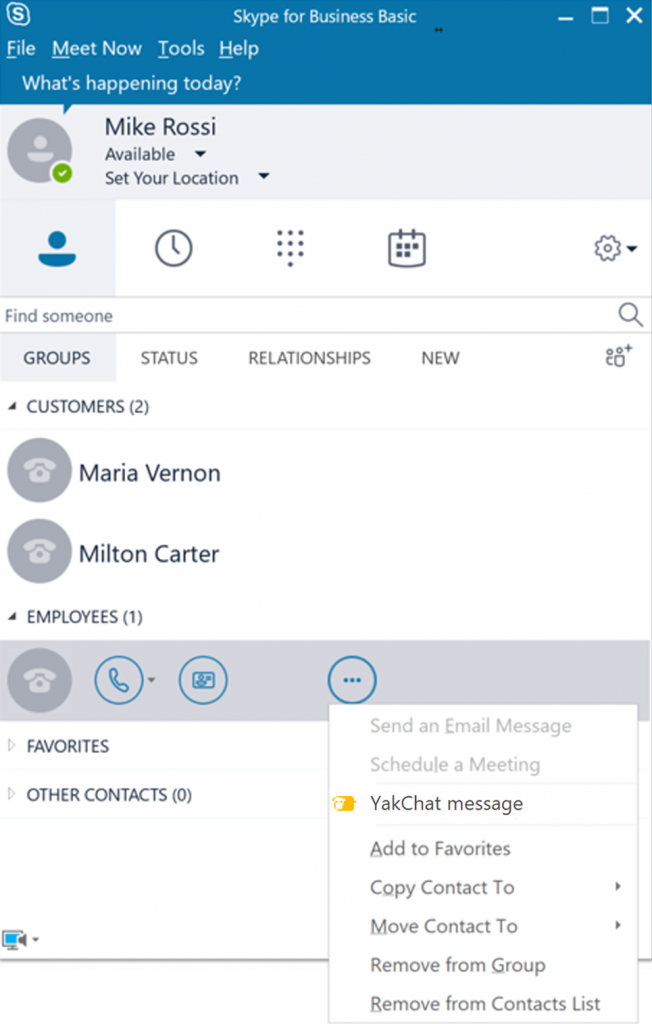 Screenshot of Skype for Business with YakChat Menu