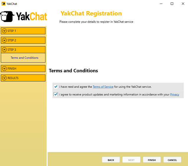 Screenshot of YakChat Registration