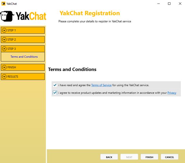 Screenshot of YakChat Registration