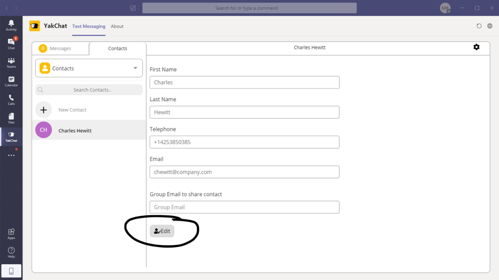 manage contacts in YakChat for Microsoft Teams
