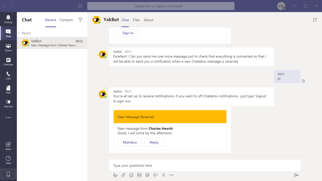 get new message notifications in Microsoft Teams