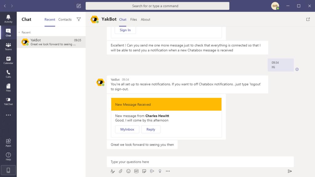Screenshot of YakChat Bot in Microsoft Teamsof YakChat App in Microsoft Teams