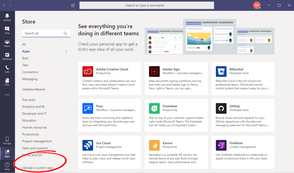 YakChat SMS download Microsoft Teams Screenshot custom app