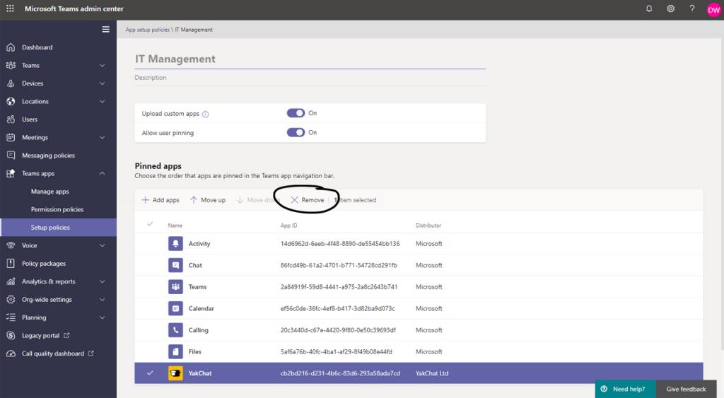 Screenshot of YakChat App in Microsoft Teams