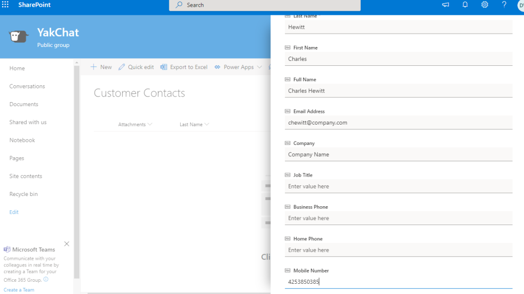 Screenshot of Microsoft Sharepoint