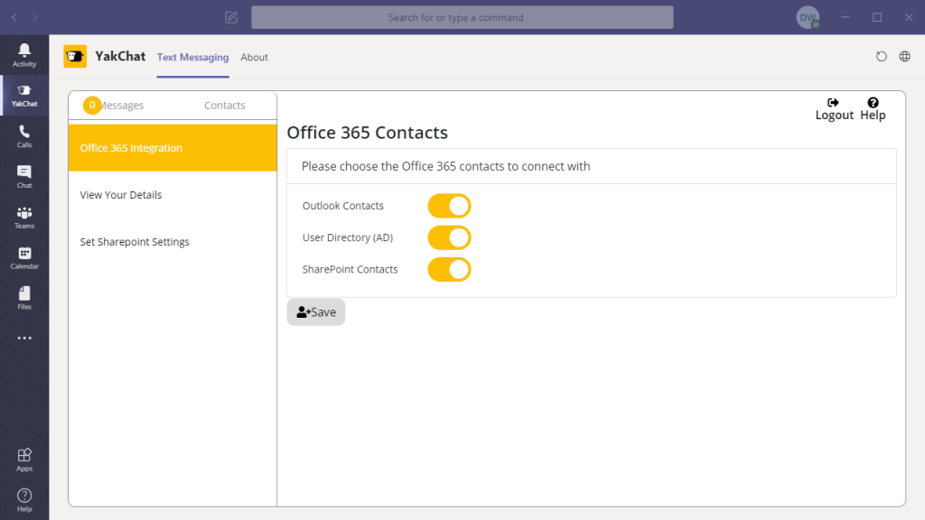 Screenshot of YakChat App in Microsoft Teams