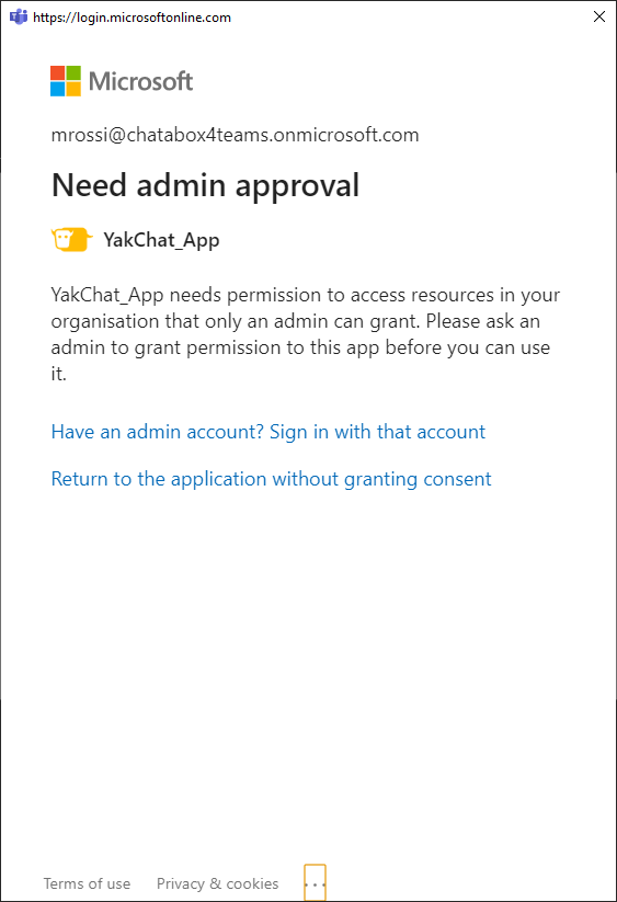 Screenshot of Installing YakChat Teams App