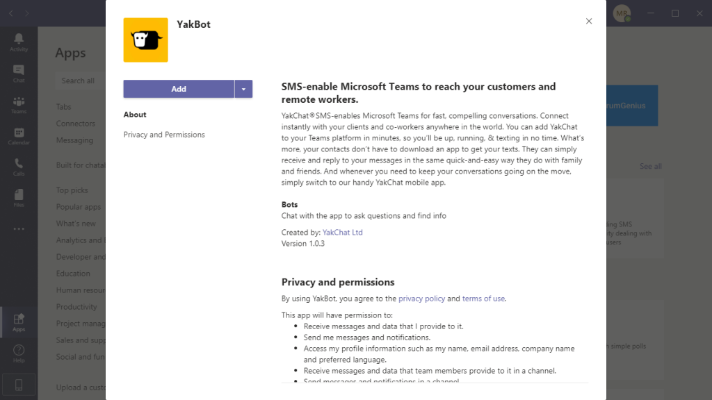 Install YakBot for Microsoft Teams