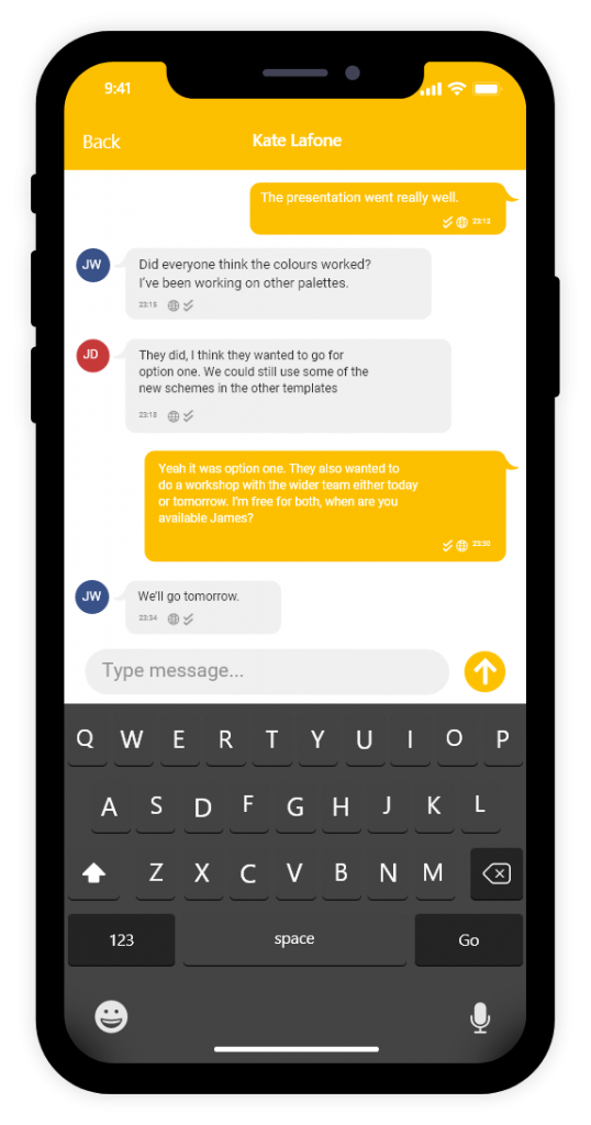 YakChat SMS Mobile App Screenshot