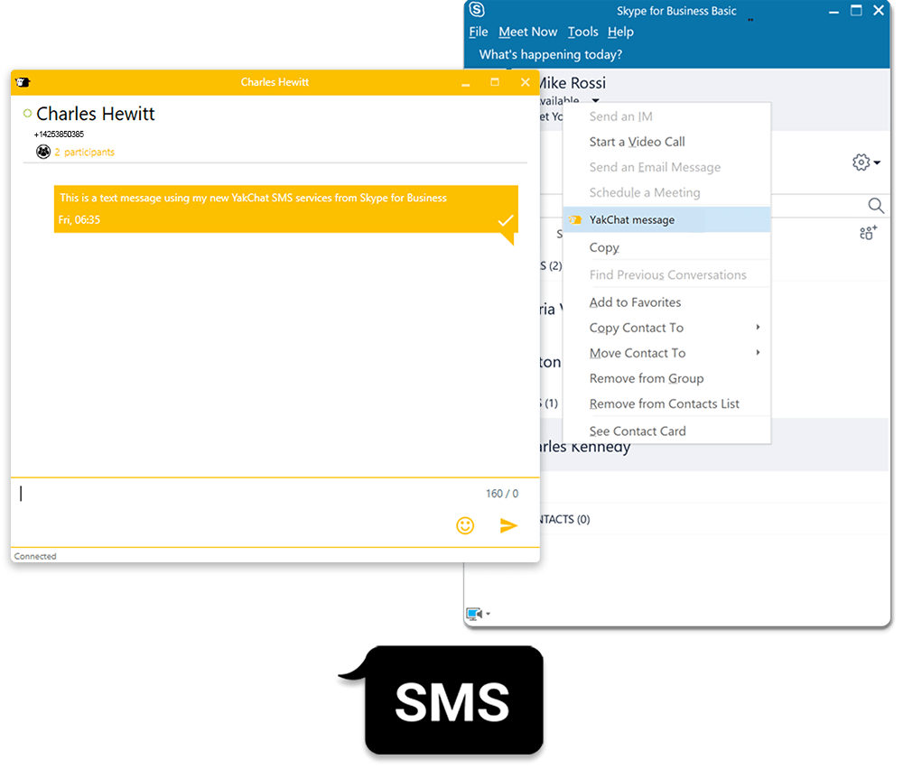 Screenshot of YakChat for Skype for Business