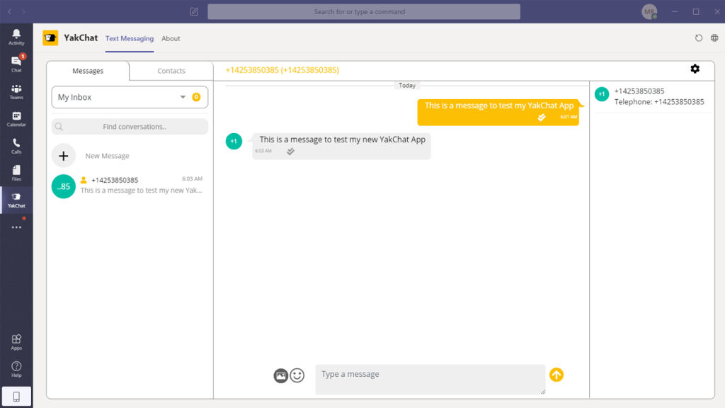 send your first text from Microsoft Teams