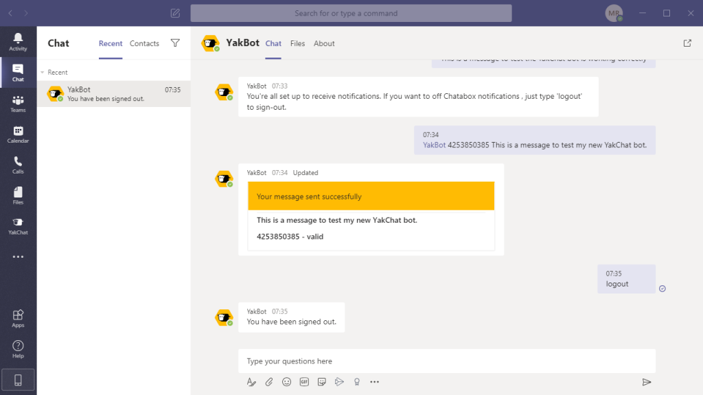 How to sign out of YakBot