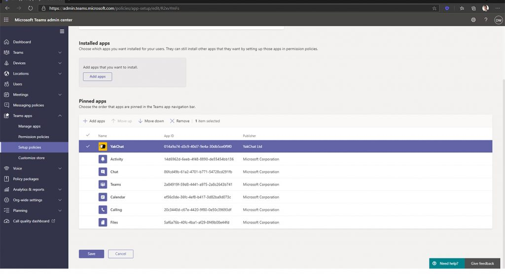 Screenshot of Microsoft Teams Admin Portal