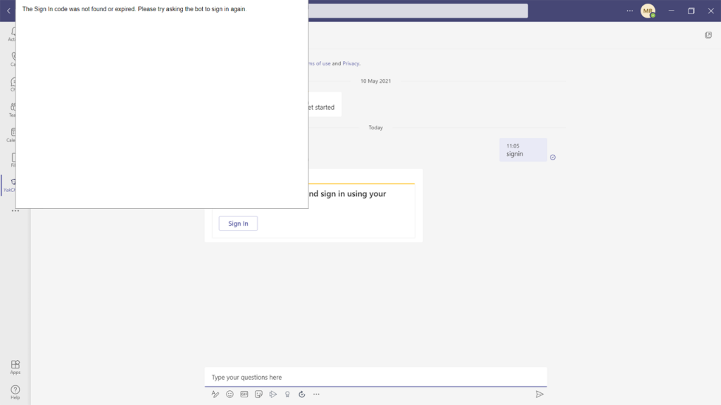 Screenshot installing YakChat